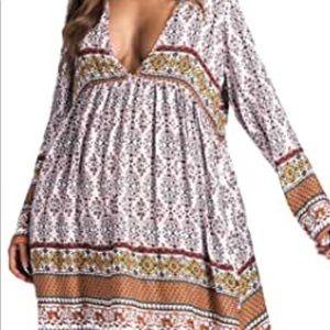 BoHo, deep V, flowy dress